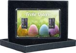 Frohe Ostern mit zwei Silberbarren ab 1 Gramm -Bunte Eier im Gras- M5S2