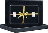 Geschenk mit goldener Schleife - mit zwei Silberbarren ab 1 g -und Kaltfoliendruck veredelt -  M8S2