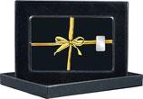 Geschenk mit goldener Schleife - mit einem Silberbarren ab 1 g und mit Kaltfoliendruck veredelt- M8S1