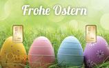 Geschenkbarren Frohe Ostern mit  zwei Goldbarren M5G2