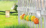 Geschenkbarren Frohe Ostern mit einem Gold- und einem Silberbarren M4GS