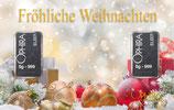 Fröhliche Weihnachten mit 2 Silberbarren - Kugeln und Geschenke im Schnee - M9S2