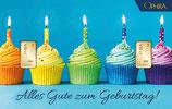 Kuchen mit Kerzen und zwei Goldbarren ab 0,10 Gramm M3G2