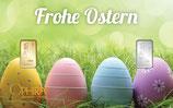 Geschenkbarren Frohe Ostern mit einem Gold- und einem Silberbarren M5GS