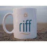 "Kaffeebecher mit Motiv ""riff-logo"""