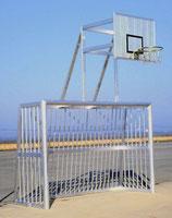 Alu-Bolzplatztor vollverschweißt 3 x 2 m mit Basketballaufsatz