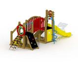 Kleinkind-Spielgerät Mammut mit Kunststoff-Rutsche, Laufbrücke und spiralförmiger Rutschstange