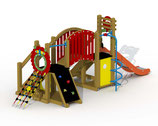 Kleinkind-Spielgerät Mammut mit V²A-Rutsche, Laufbrücke, sprialförmige Rutschstange