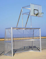 Alu-Bolzplatztor vollverschweißt 5 x 2 m mit Basketballaufsatz
