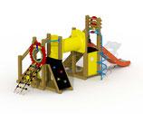 Kleinkind-Spielgerät Mammut mit V²A-Rutsche, Kriechtunnel, sprialförmige Rutschstange