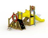 Kleinkind-Spielgerät Mammut mit Kunststoff-Rutsche, Kriechtunnel und gerader Rutschstange