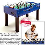 Tischkicker Master-Cup blau mit durchgehenden Stangen