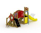 Kleinkind-Spielgerät Mammut mit Kunststoff-Rutsche, Laufbrücke und gerader Rutschstange