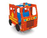Spielhaus Feuerwehrauto auf Federn