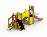 Kleinkind-Spielgerät Mammut mit V²A-Rutsche, Kriechtunnel, gerade Rutschstange