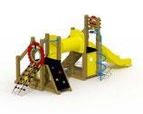Kleinkind-Spielgerät Mammut mit Kunststoff-Rutsche, Kriechtunnel und spiralförmiger Rutschstange