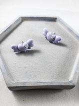Handmade Cute Purple Heart Earrings