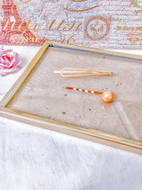 Orange Pearl And Simple Gole Hair Clip Set