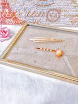 Orange Pearl & Simple Gold Hair Pin Set