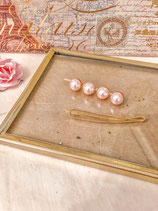 Pink 4 Pearls And Simple Gold Hair Clip Set