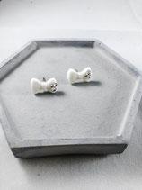 Handmade Cute White Ribbon Earrings