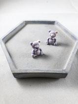 Handmade Purple Cute Bear Earrings