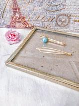 Blue Pearl & Simple Gold Hair Pin Set