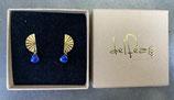Boucles éventail plaqué or et lapiz lazuli