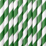 Papierstrohhalme Grün Streifen
