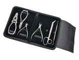 6-teiliges - Nagelzangen - Podologie Instrumenten Set - für extra starke Nägel - Fußpflegeinstrumente - im schwarzen hochwertigen Etui