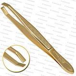 Solinger Pinzette - Vergoldet - innen gewinkelter Kopf