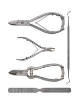 5-teiliges Nagelzangen Podologie Set - Nagelset - Nagelpflegeset - 2 Nagelzangen - Hautzange - Nagelreiniger - Fußraspel - Nagelreiniger