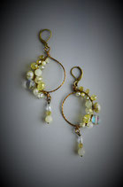 """Shades of Soft Yellow"" Beaded Circle with Drop Earring"