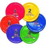 6 disques volants numérotés