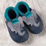 chaussons cuir éléphant bleu/gris/turquoise, Pololo