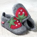 chaussons laine feutrée - gris/fraise, Pololo