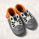 chaussons cuir zèbre orange/gris, Pololo souple