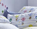 Housse de couette montgolfières 135x200 et taie d'oreiller 40x60, Cotonea
