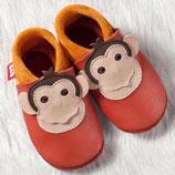 chaussons cuir orange singe, Pololo souple