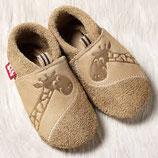 chaussons cuir giraffe beige, Pololo souple