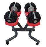 verstellbares Hantelpaar von 2,5 kg bis 25 Kg incl. Hantelständer