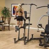 Body Solid Kniehebe und Dipständeranbau für die Multistationen der Fusion Serie mit Gewichtsunterstützung