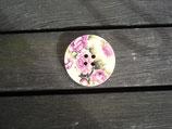 Knopf aus Holz mit Blumendruck