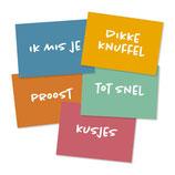 Wenskaarten met envelop - set van 5