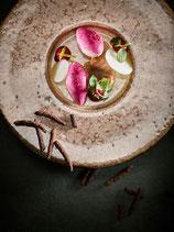 Foie gras aux épices et chutney de coings, brioche au beurre de ferme