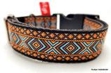Klickverschluss Halsband Ethno orange-braun / 28