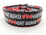 Klickverschluss Halsband Heartbreaker schwarz/rot