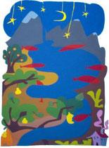 Fiume con pesci sotto le stelle