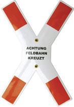 Andreaskreuz - Achtung Feldbahn kreuzt