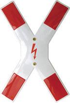 Andreaskreuz mit Blitzsymbol